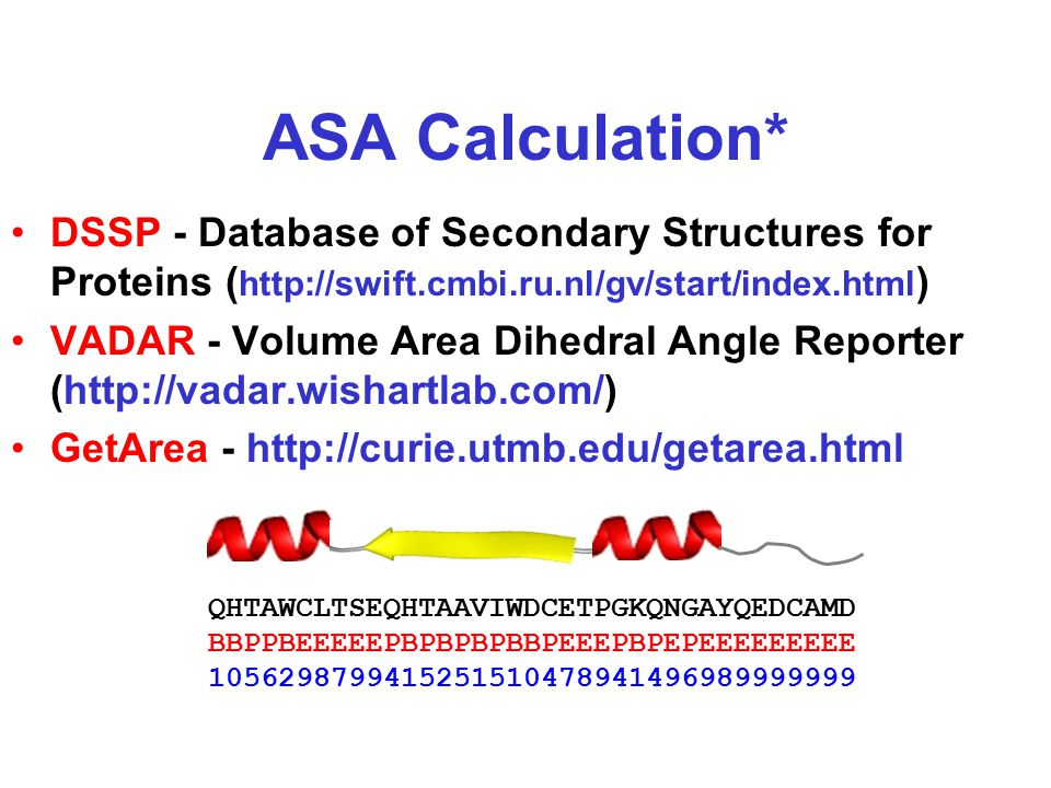 ASA Calculation* DSSP - Database of Secondary Structures for Proteins ( http://swift.cmbi.ru.nl/gv/start/index.html ) VADAR - Volume Area Dihedral Angle Reporter (http://vadar.wishartlab.com/) GetArea - http://curie.utmb.edu/getarea.html QHTAWCLTSEQHTAAVIWDCETPGKQNGAYQEDCAMD BBPPBEEEEEPBPBPBPBBPEEEPBPEPEEEEEEEEE 1056298799415251510478941496989999999