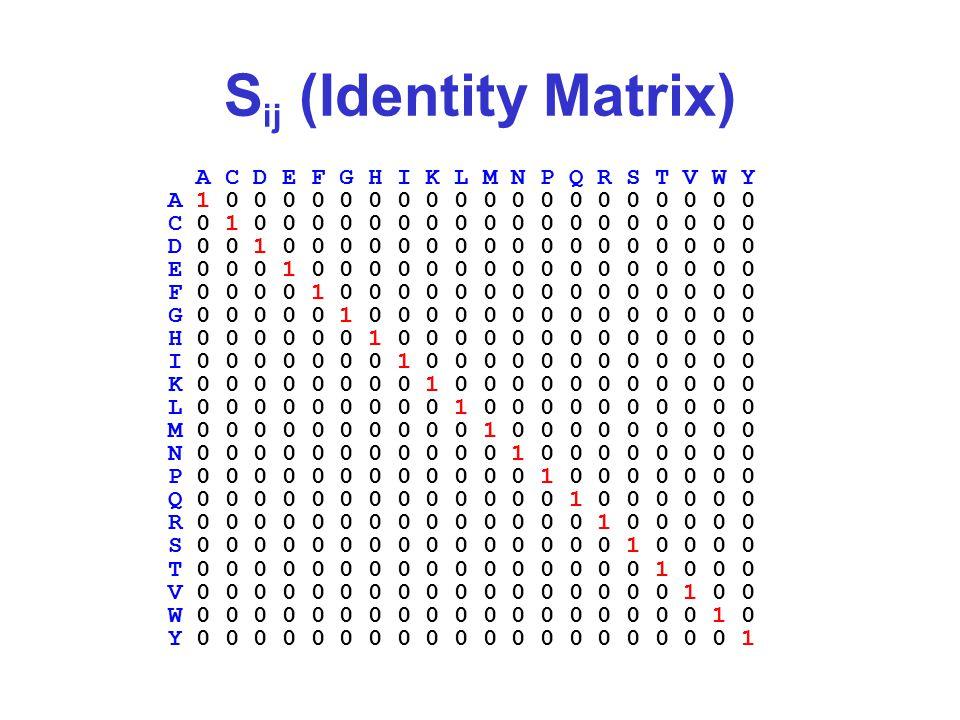 S ij (Identity Matrix) A C D E F G H I K L M N P Q R S T V W Y A 1 0 0 0 0 0 0 0 0 0 0 0 0 0 0 0 0 0 0 0 C 0 1 0 0 0 0 0 0 0 0 0 0 0 0 0 0 0 0 0 0 D 0 0 1 0 0 0 0 0 0 0 0 0 0 0 0 0 0 0 0 0 E 0 0 0 1 0 0 0 0 0 0 0 0 0 0 0 0 0 0 0 0 F 0 0 0 0 1 0 0 0 0 0 0 0 0 0 0 0 0 0 0 0 G 0 0 0 0 0 1 0 0 0 0 0 0 0 0 0 0 0 0 0 0 H 0 0 0 0 0 0 1 0 0 0 0 0 0 0 0 0 0 0 0 0 I 0 0 0 0 0 0 0 1 0 0 0 0 0 0 0 0 0 0 0 0 K 0 0 0 0 0 0 0 0 1 0 0 0 0 0 0 0 0 0 0 0 L 0 0 0 0 0 0 0 0 0 1 0 0 0 0 0 0 0 0 0 0 M 0 0 0 0 0 0 0 0 0 0 1 0 0 0 0 0 0 0 0 0 N 0 0 0 0 0 0 0 0 0 0 0 1 0 0 0 0 0 0 0 0 P 0 0 0 0 0 0 0 0 0 0 0 0 1 0 0 0 0 0 0 0 Q 0 0 0 0 0 0 0 0 0 0 0 0 0 1 0 0 0 0 0 0 R 0 0 0 0 0 0 0 0 0 0 0 0 0 0 1 0 0 0 0 0 S 0 0 0 0 0 0 0 0 0 0 0 0 0 0 0 1 0 0 0 0 T 0 0 0 0 0 0 0 0 0 0 0 0 0 0 0 0 1 0 0 0 V 0 0 0 0 0 0 0 0 0 0 0 0 0 0 0 0 0 1 0 0 W 0 0 0 0 0 0 0 0 0 0 0 0 0 0 0 0 0 0 1 0 Y 0 0 0 0 0 0 0 0 0 0 0 0 0 0 0 0 0 0 0 1
