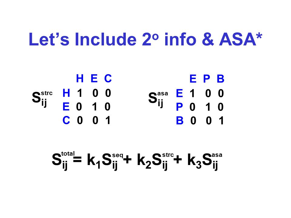 Let's Include 2 o info & ASA* H E C H 1 0 0 E 0 1 0 C 0 0 1 E P B E 1 0 0 P 0 1 0 B 0 0 1 S ij = k 1 S ij + k 2 S ij + k 3 S ij seq strcasa total S ij strc S ij asa