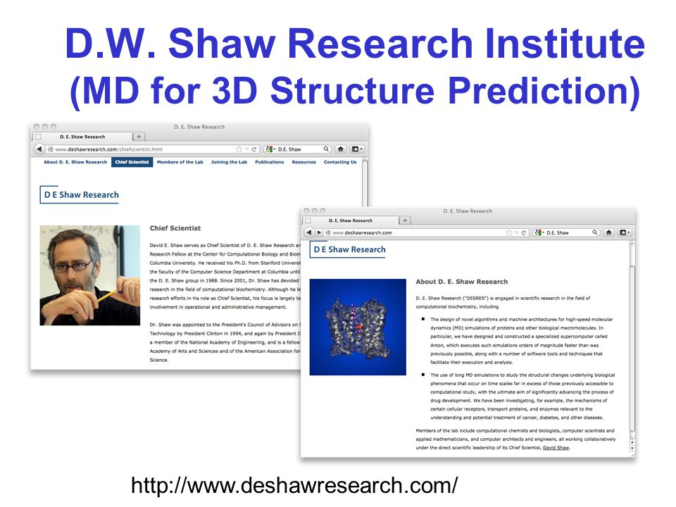 D.W. Shaw Research Institute (MD for 3D Structure Prediction) http://www.deshawresearch.com/