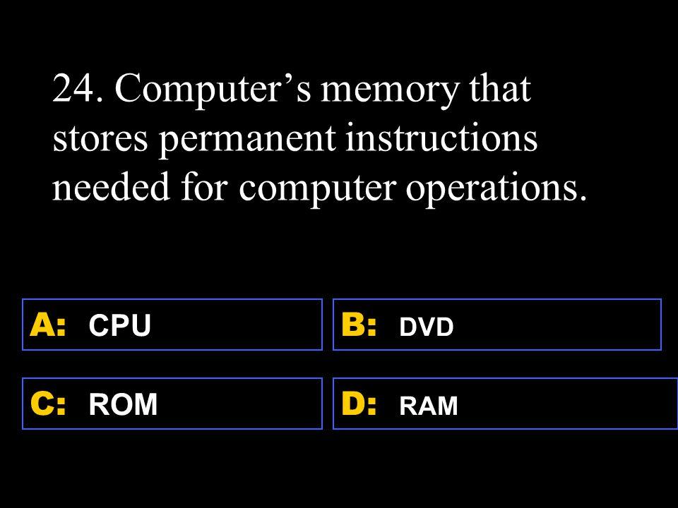 D: RAM A: CPU C: ROM B: DVD 24.