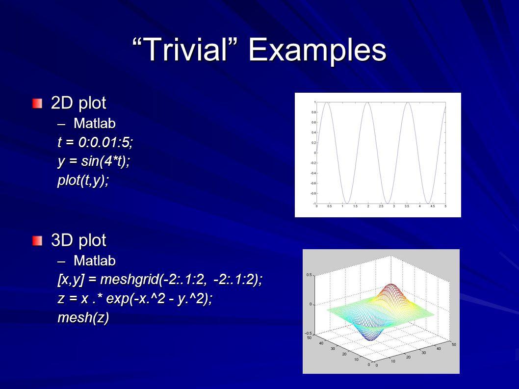 Trivial Examples 2D plot –Matlab t = 0:0.01:5; y = sin(4*t); plot(t,y); 3D plot –Matlab [x,y] = meshgrid(-2:.1:2, -2:.1:2); z = x.* exp(-x.^2 - y.^2); mesh(z)