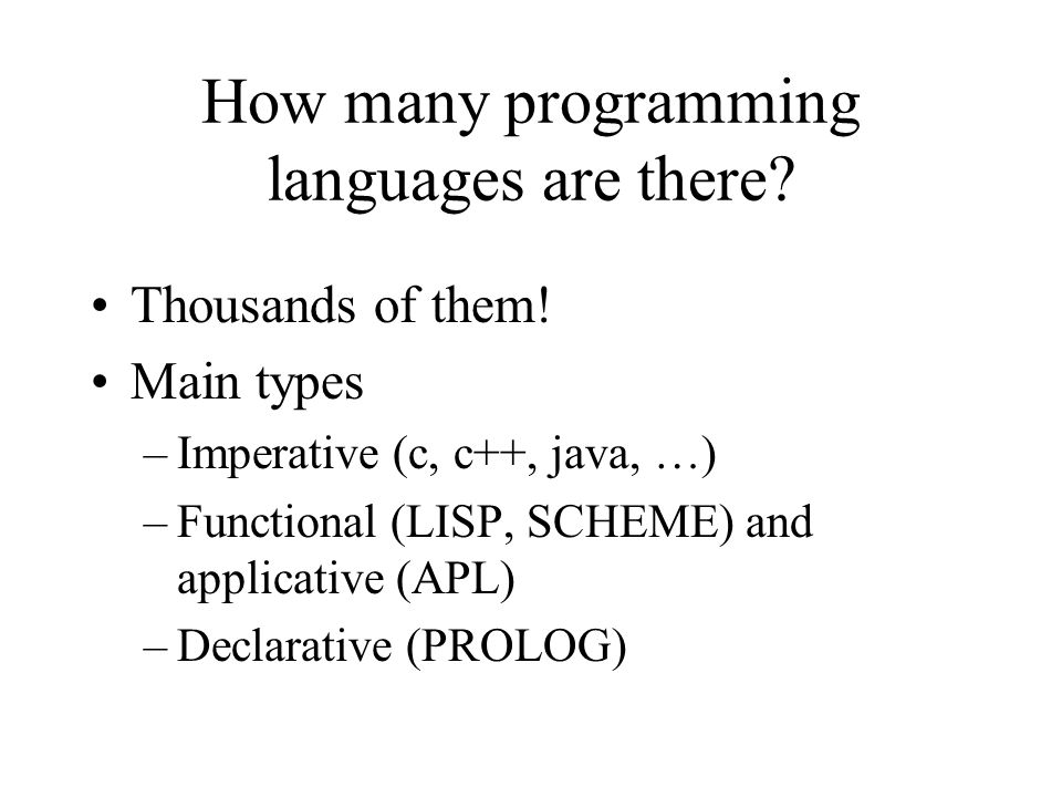How many programming languages are there.Thousands of them.