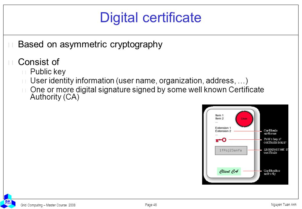 Nguyen Tuan Anh Page 46 Grid Computing – Master Course 2008 Digital certificate  Based on asymmetric cryptography  Consist of Public key User identity information (user name, organization, address, …) One or more digital signature signed by some well known Certificate Authority (CA)