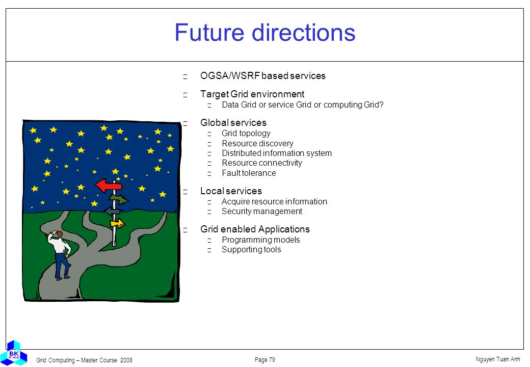 Nguyen Tuan Anh Page 79 Grid Computing – Master Course 2008 Future directions  OGSA/WSRF based services  Target Grid environment Data Grid or service Grid or computing Grid.