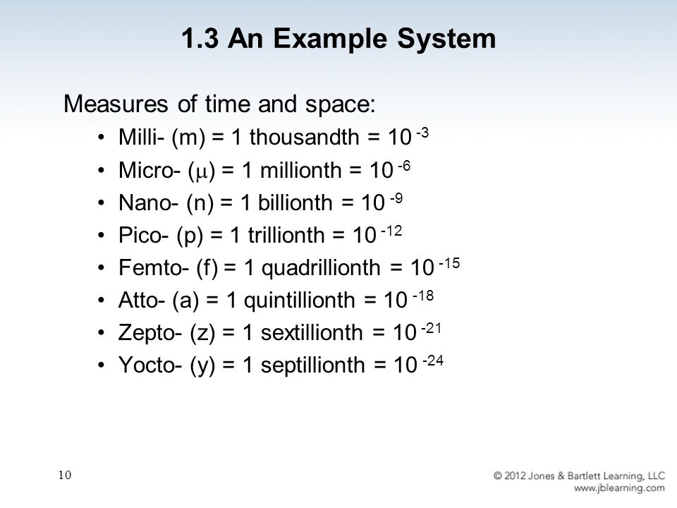 10 1.3 An Example System Measures of time and space: Milli- (m) = 1 thousandth = 10 -3 Micro- (  ) = 1 millionth = 10 -6 Nano- (n) = 1 billionth = 10 -9 Pico- (p) = 1 trillionth = 10 -12 Femto- (f) = 1 quadrillionth = 10 -15 Atto- (a) = 1 quintillionth = 10 -18 Zepto- (z) = 1 sextillionth = 10 -21 Yocto- (y) = 1 septillionth = 10 -24
