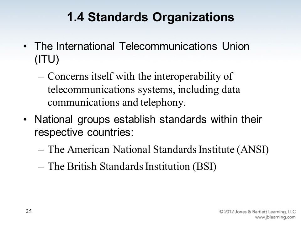 25 The International Telecommunications Union (ITU) –Concerns itself with the interoperability of telecommunications systems, including data communications and telephony.