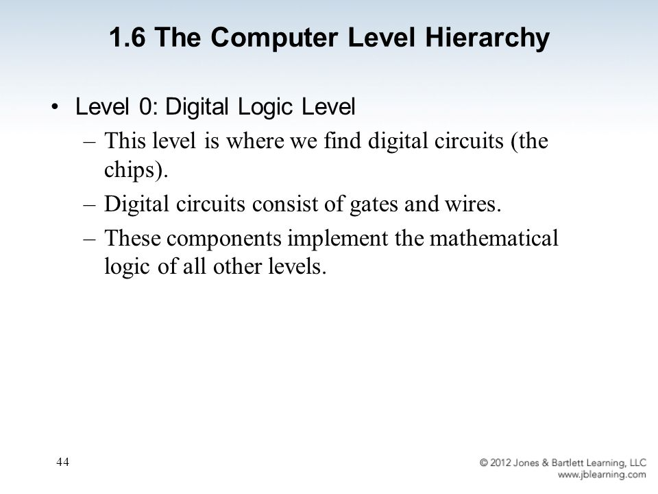 44 Level 0: Digital Logic Level –This level is where we find digital circuits (the chips).