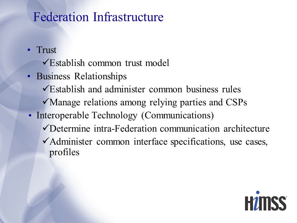 Federation Infrastructure Trust Establish common trust model Business Relationships Establish and administer common business rules Manage relations among relying parties and CSPs Interoperable Technology (Communications) Determine intra-Federation communication architecture Administer common interface specifications, use cases, profiles