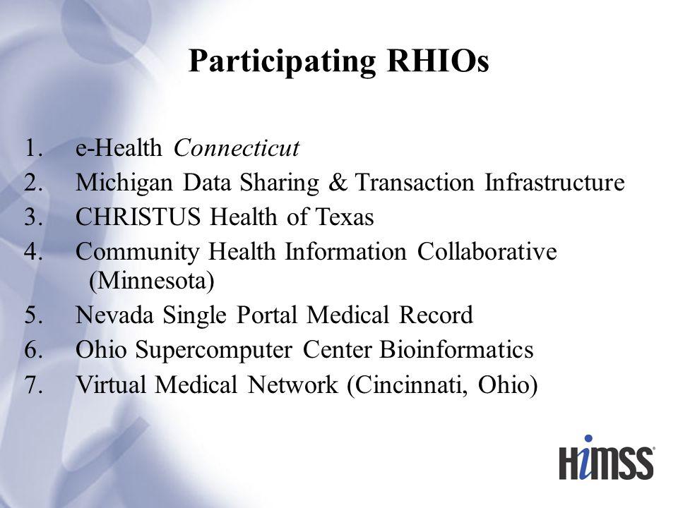 Participating RHIOs 1. e-Health Connecticut 2.