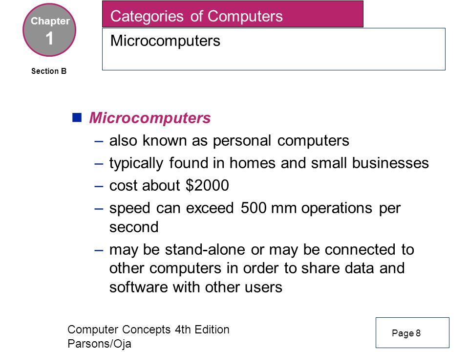 Computer Concepts 4th Edition Parsons/Oja Categories of Computers Microcomputers Chapter 1 nMicrocomputers –also known as personal computers –typically found in homes and small businesses –cost about $2000 –speed can exceed 500 mm operations per second –may be stand-alone or may be connected to other computers in order to share data and software with other users Page 8 Section B