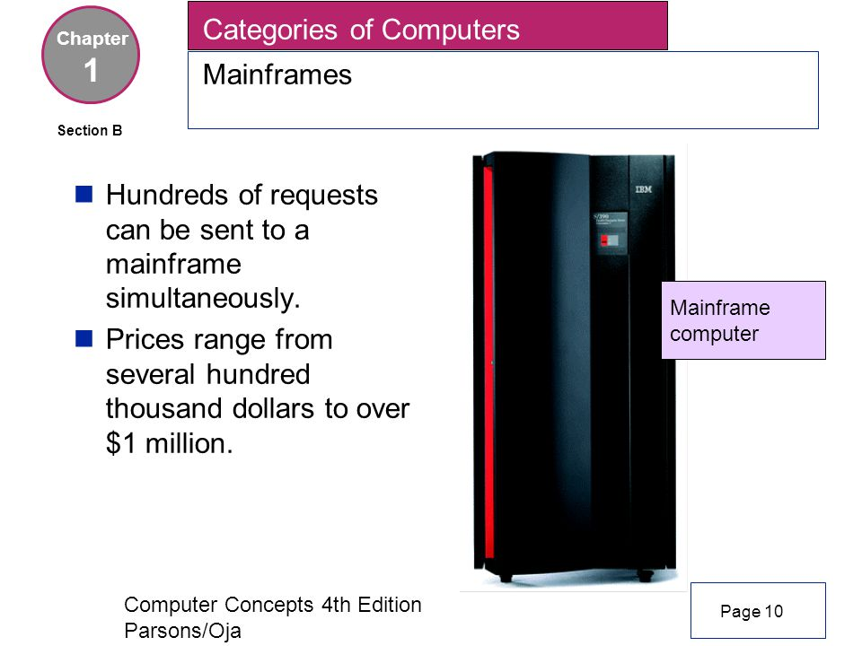 Computer Concepts 4th Edition Parsons/Oja nHundreds of requests can be sent to a mainframe simultaneously.