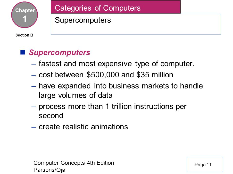 Computer Concepts 4th Edition Parsons/Oja nSupercomputers –fastest and most expensive type of computer.