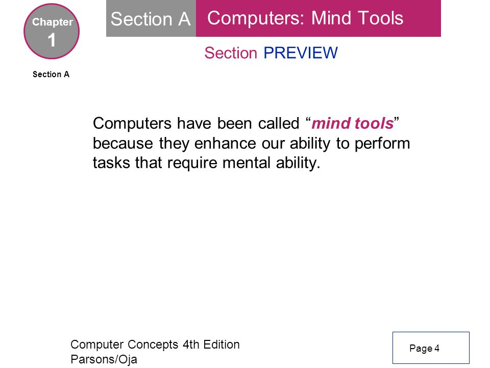 Computer Concepts 4th Edition Parsons/Oja Section A Section PREVIEW Computers have been called mind tools because they enhance our ability to perform tasks that require mental ability.
