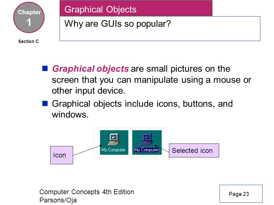Computer Concepts 4th Edition Parsons/Oja Graphical Objects Why are GUIs so popular.