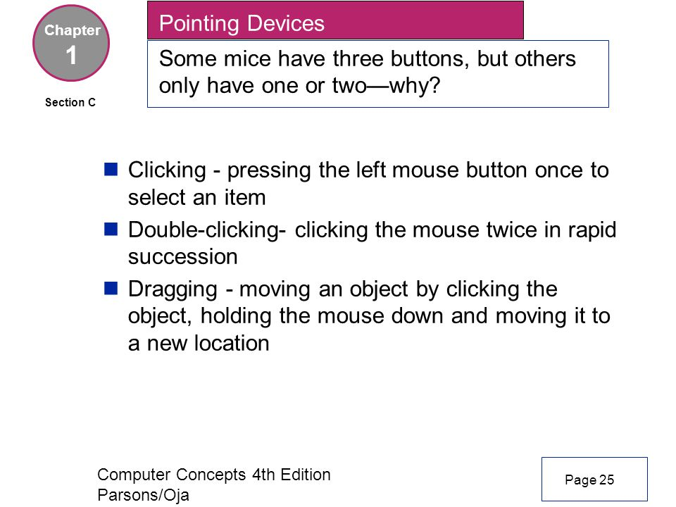 Computer Concepts 4th Edition Parsons/Oja Chapter 1 Page 25 Section C nClicking - pressing the left mouse button once to select an item nDouble-clicking- clicking the mouse twice in rapid succession nDragging - moving an object by clicking the object, holding the mouse down and moving it to a new location Pointing Devices Some mice have three buttons, but others only have one or two—why