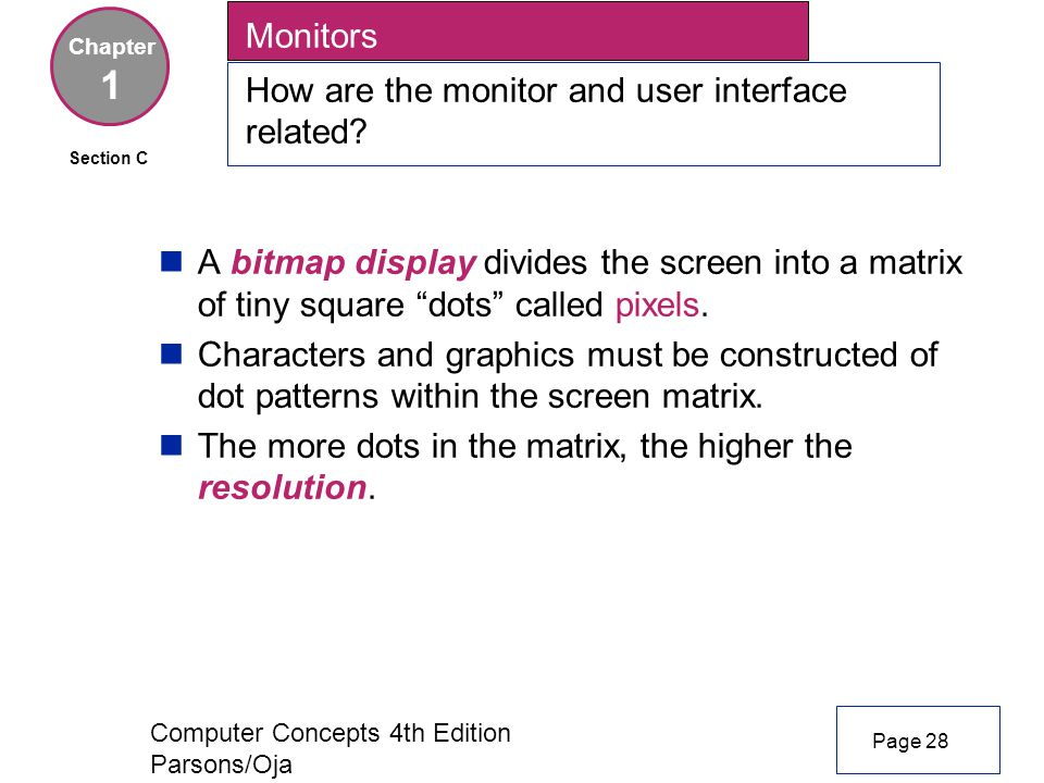 Computer Concepts 4th Edition Parsons/Oja Monitors How are the monitor and user interface related.