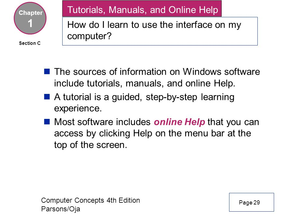 Computer Concepts 4th Edition Parsons/Oja Tutorials, Manuals, and Online Help How do I learn to use the interface on my computer.