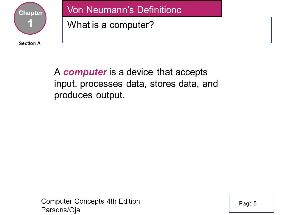 Computer Concepts 4th Edition Parsons/Oja A computer is a device that accepts input, processes data, stores data, and produces output.