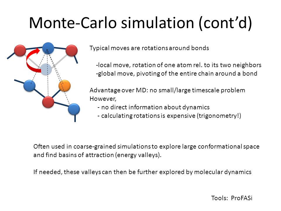 Monte-Carlo simulation (cont'd) Typical moves are rotations around bonds -local move, rotation of one atom rel.