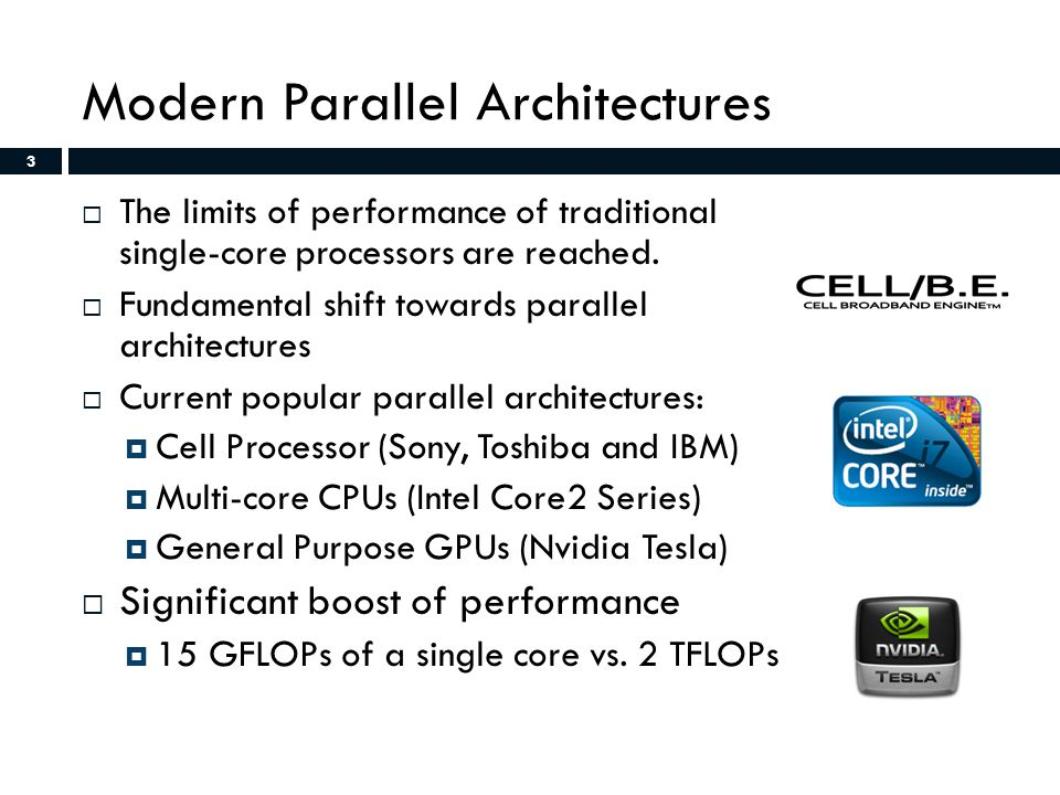 3 Modern Parallel Architectures  The limits of performance of traditional single-core processors are reached.