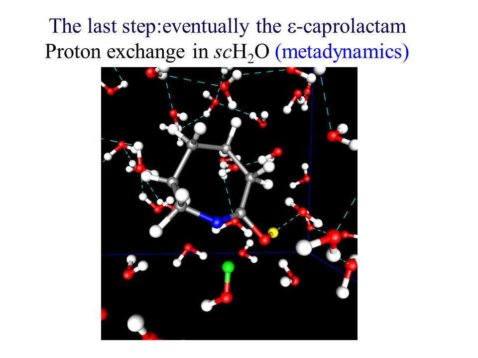 The last step:eventually the  -caprolactam Proton exchange in scH 2 O (metadynamics)