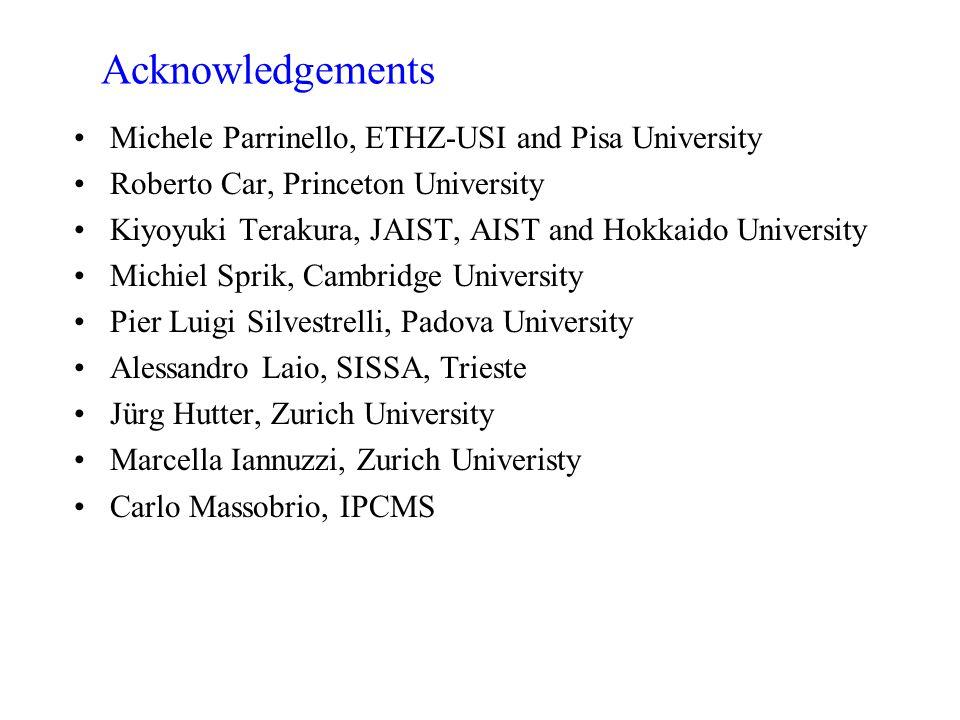 Acknowledgements Michele Parrinello, ETHZ-USI and Pisa University Roberto Car, Princeton University Kiyoyuki Terakura, JAIST, AIST and Hokkaido Univer