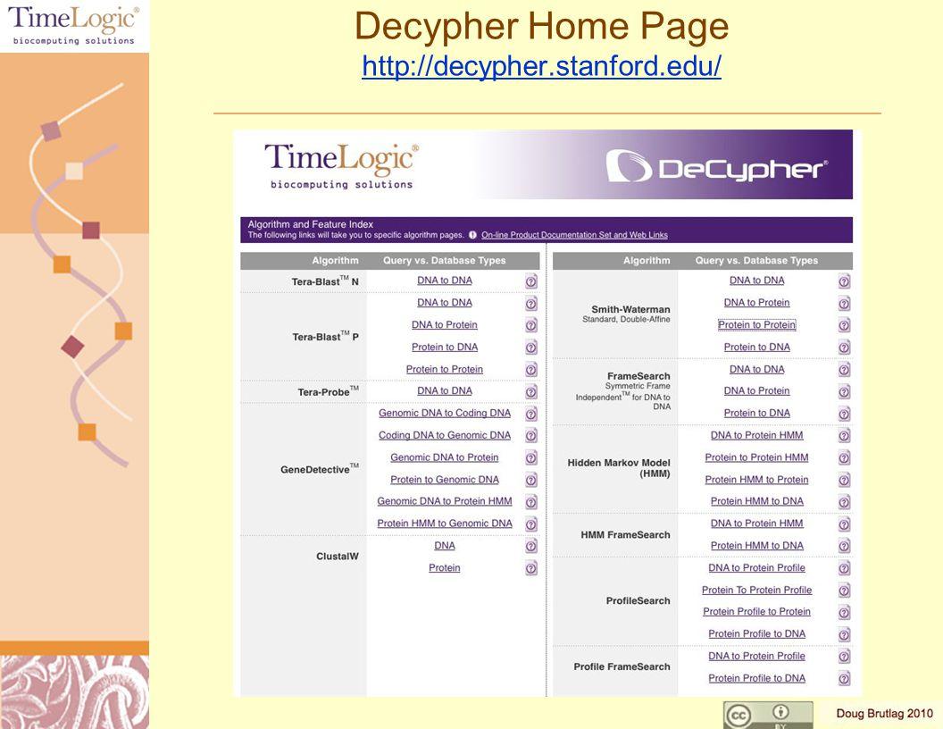 Decypher ClustalW Results http://decypher.stanford.edu/ http://decypher.stanford.edu/