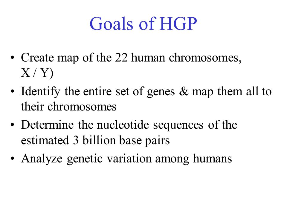 Goals of HGP Create map of the 22 human chromosomes, X / Y) Identify the entire set of genes & map them all to their chromosomes Determine the nucleotide sequences of the estimated 3 billion base pairs Analyze genetic variation among humans