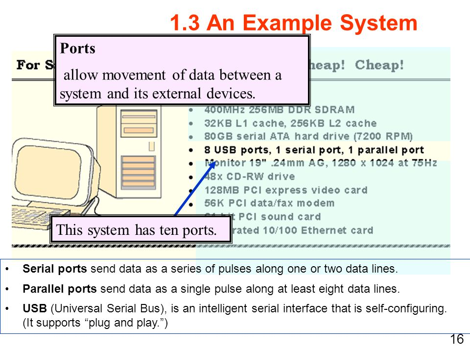 16 1.3 An Example System This system has ten ports. Ports allow movement of data between a system and its external devices. Serial ports send data as