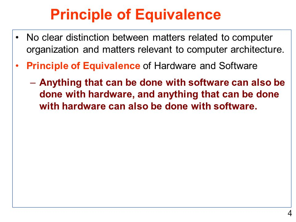 4 No clear distinction between matters related to computer organization and matters relevant to computer architecture. Principle of Equivalence of Har