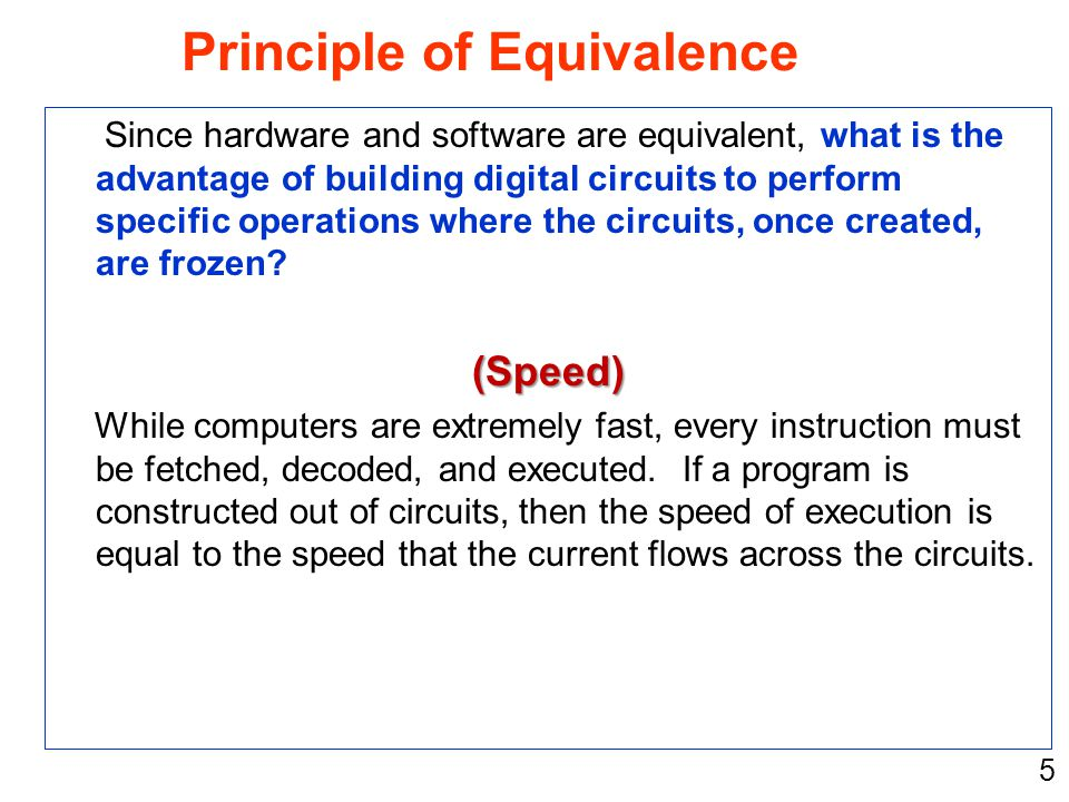 5 Since hardware and software are equivalent, what is the advantage of building digital circuits to perform specific operations where the circuits, on