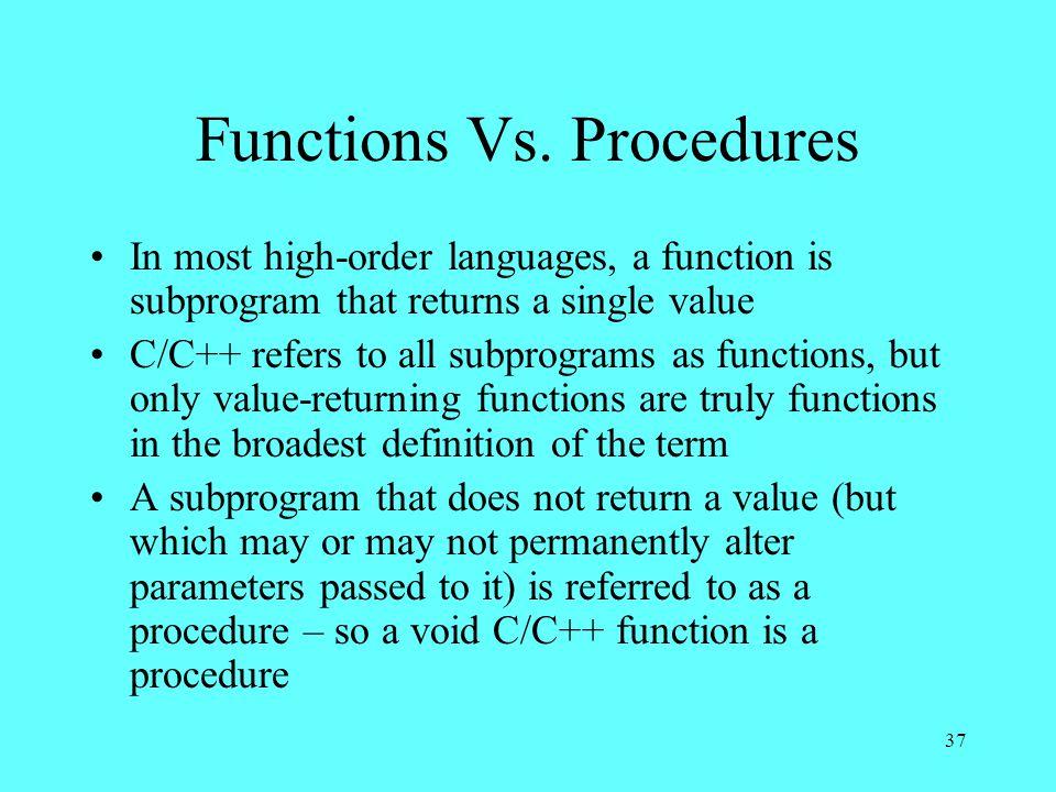 37 Functions Vs.