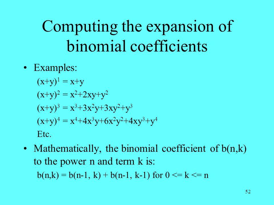 52 Computing the expansion of binomial coefficients Examples: (x+y) 1 = x+y (x+y) 2 = x 2 +2xy+y 2 (x+y) 3 = x 3 +3x 2 y+3xy 2 +y 3 (x+y) 4 = x 4 +4x 3 y+6x 2 y 2 +4xy 3 +y 4 Etc.