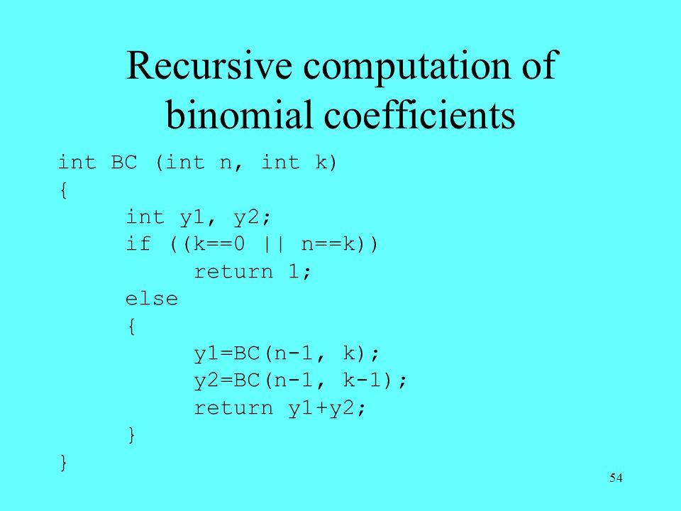 54 Recursive computation of binomial coefficients int BC (int n, int k) { int y1, y2; if ((k==0    n==k)) return 1; else { y1=BC(n-1, k); y2=BC(n-1, k-1); return y1+y2; }