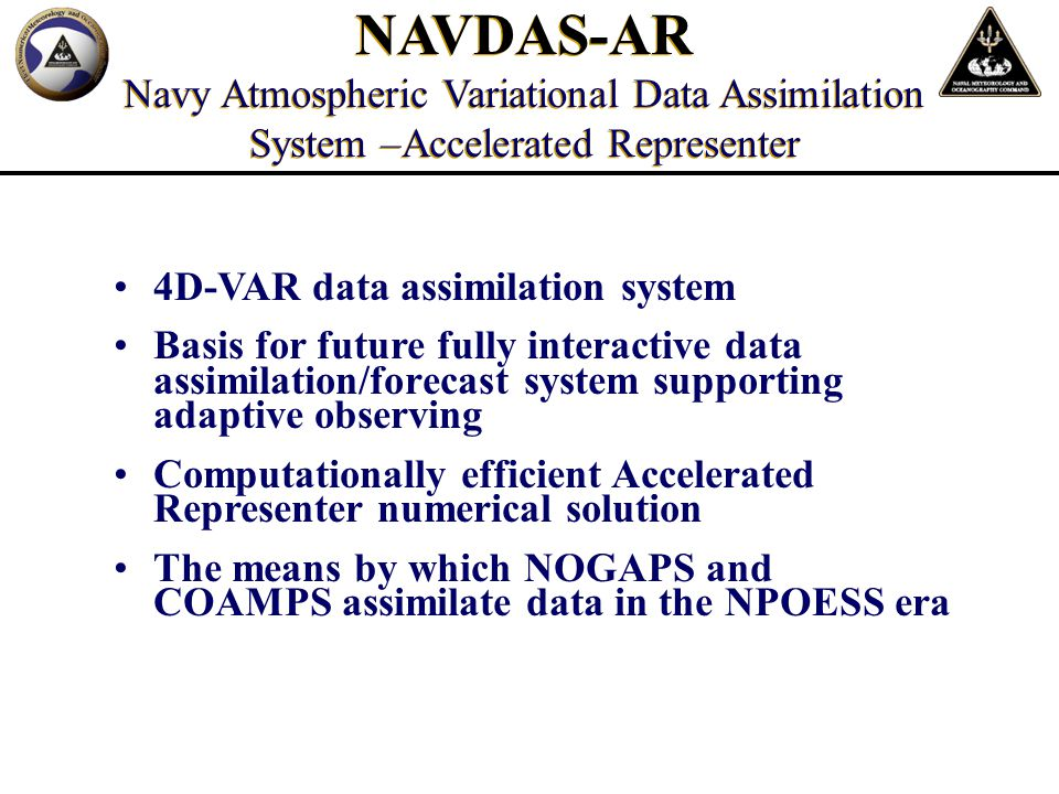 Fleet Numerical is an operational command, with direct support relationships and connectivity to Fleet and Joint Forces Fleet Numerical is continually improving its core Numerical Modeling Capability and provides the only DoD Information-Assured Global Atmospheric Model Team Monterey is a unique partnership that focuses expertise to provide operational support like nowhere else Summary Supercomputing Excellence for Fleet Safety And Information Superiority