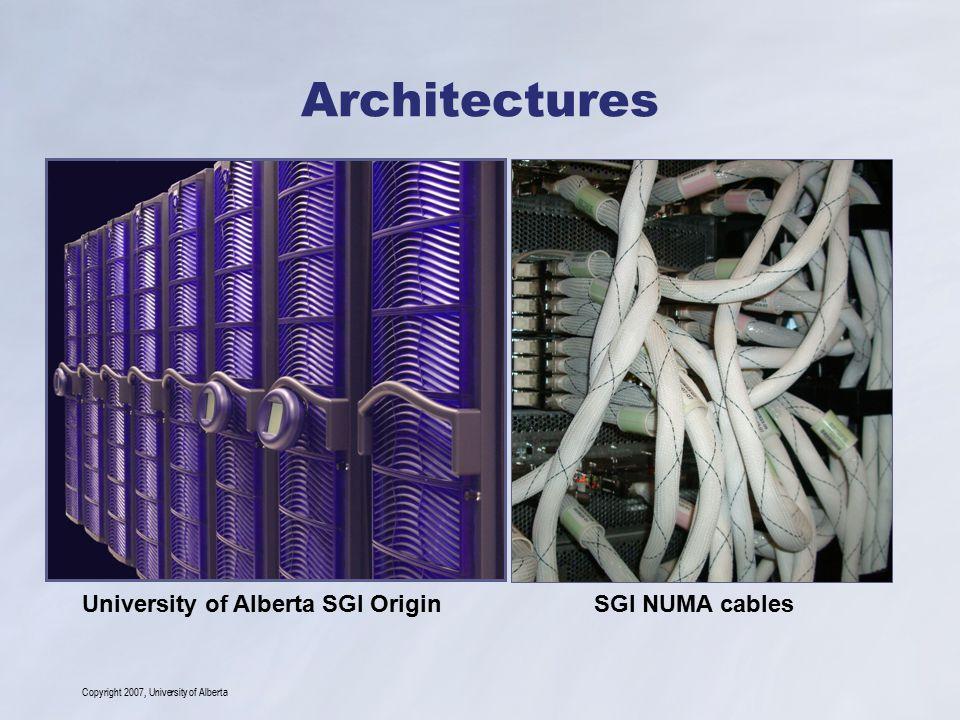 Copyright 2007, University of Alberta Architectures University of Alberta SGI OriginSGI NUMA cables