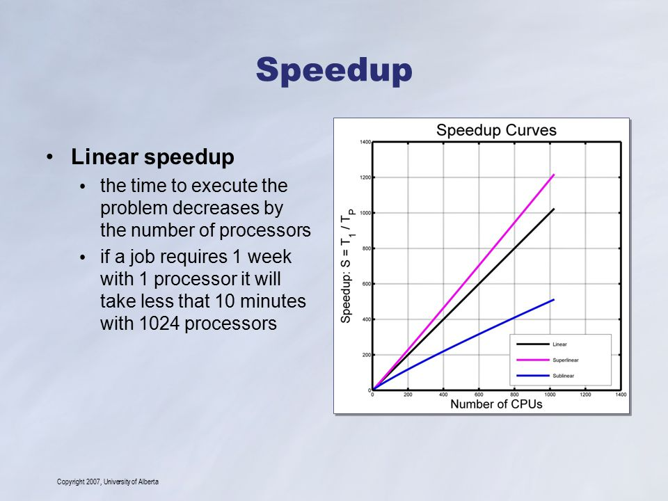 Copyright 2007, University of Alberta Speedup Linear speedup the time to execute the problem decreases by the number of processors if a job requires 1 week with 1 processor it will take less that 10 minutes with 1024 processors