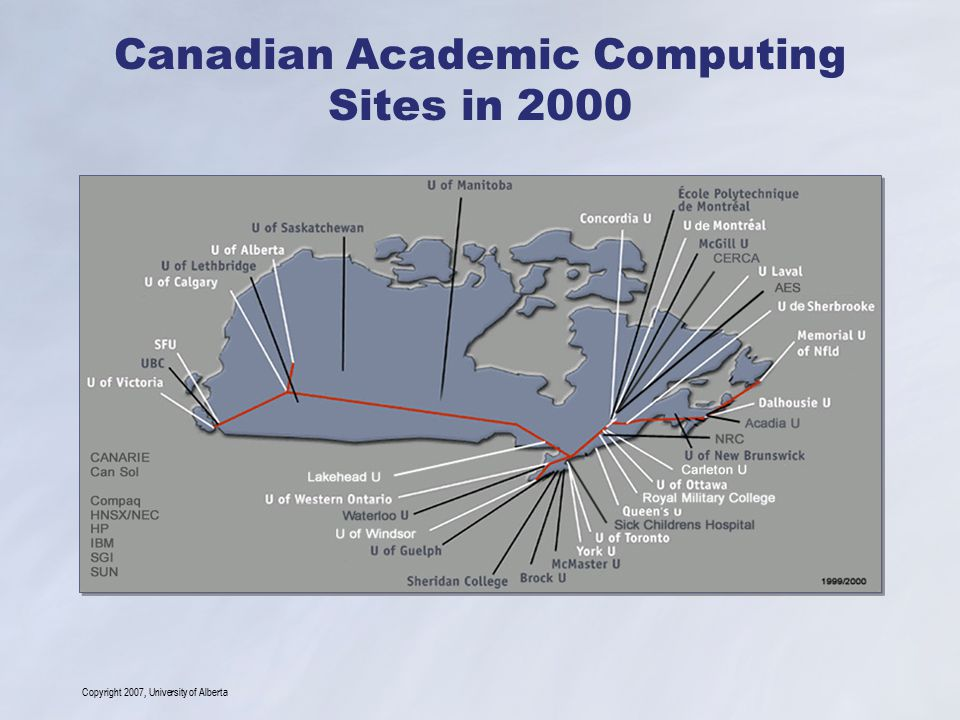 Copyright 2007, University of Alberta Canadian Academic Computing Sites in 2000
