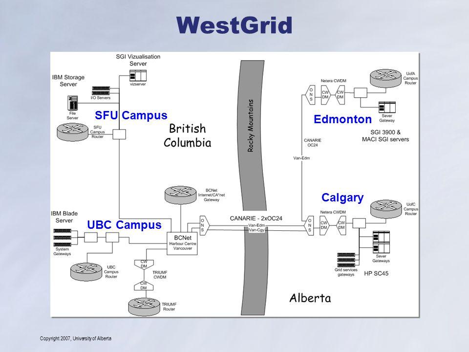 Copyright 2007, University of Alberta WestGrid Edmonton Calgary UBC Campus SFU Campus