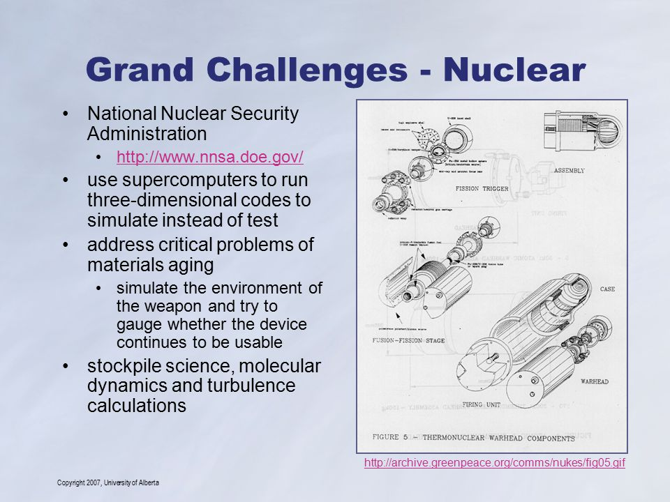 Copyright 2007, University of Alberta Grand Challenges - Nuclear National Nuclear Security Administration http://www.nnsa.doe.gov/ use supercomputers to run three-dimensional codes to simulate instead of test address critical problems of materials aging simulate the environment of the weapon and try to gauge whether the device continues to be usable stockpile science, molecular dynamics and turbulence calculations http://archive.greenpeace.org/comms/nukes/fig05.gif