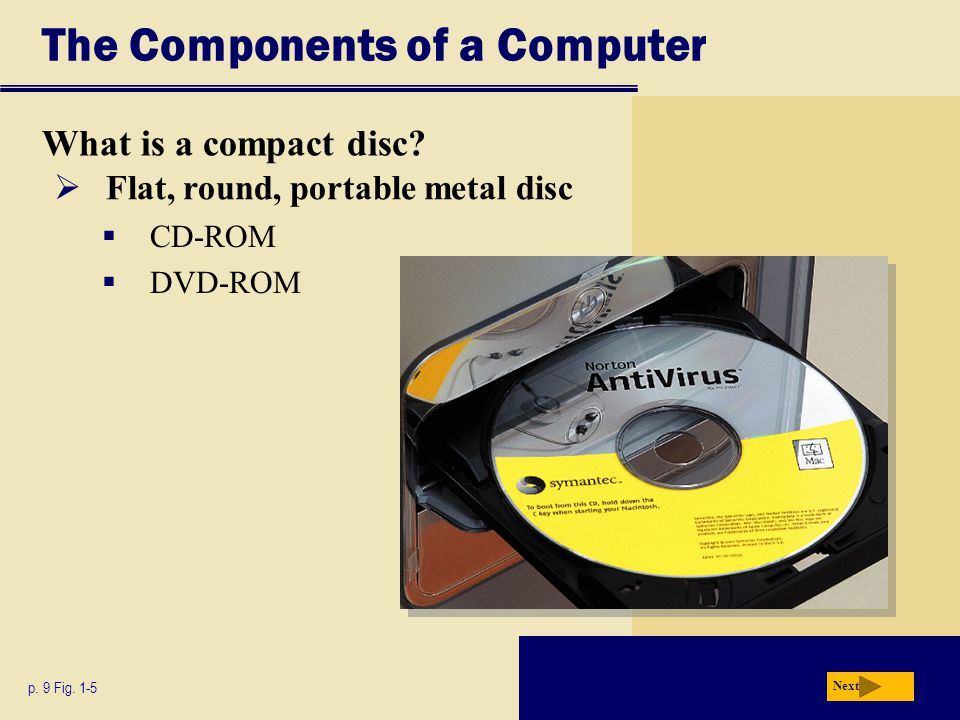 The Components of a Computer What is a compact disc? p. 9 Fig. 1-5 Next  Flat, round, portable metal disc  CD-ROM  DVD-ROM