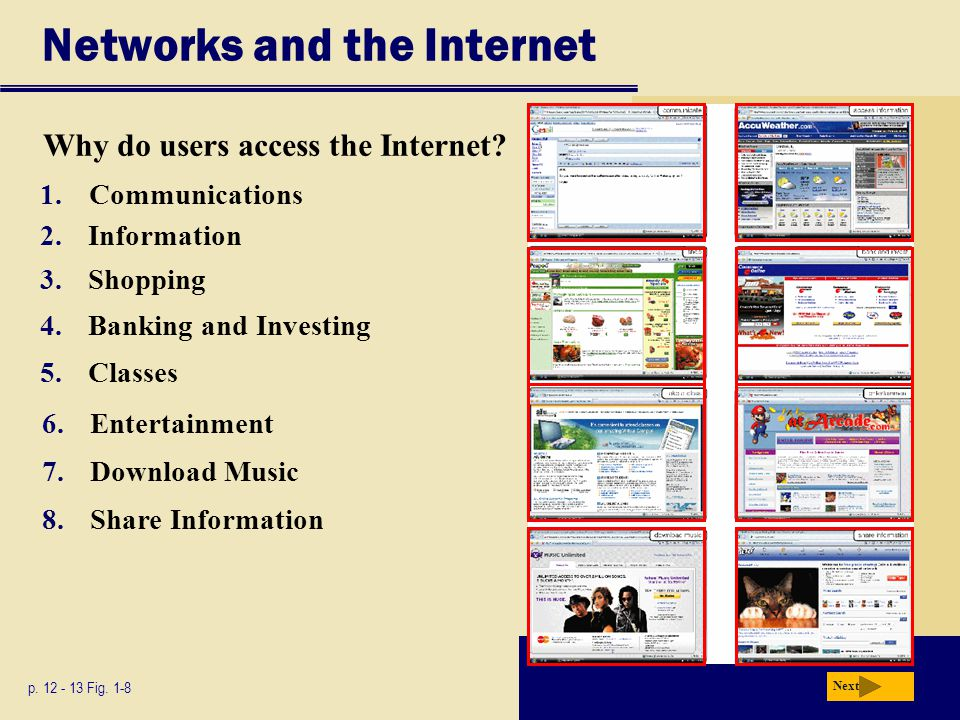 Networks and the Internet p. 12 - 13 Fig. 1-8 Why do users access the Internet? 2.Information 3.Shopping 4.Banking and Investing 5.Classes 6.Entertain