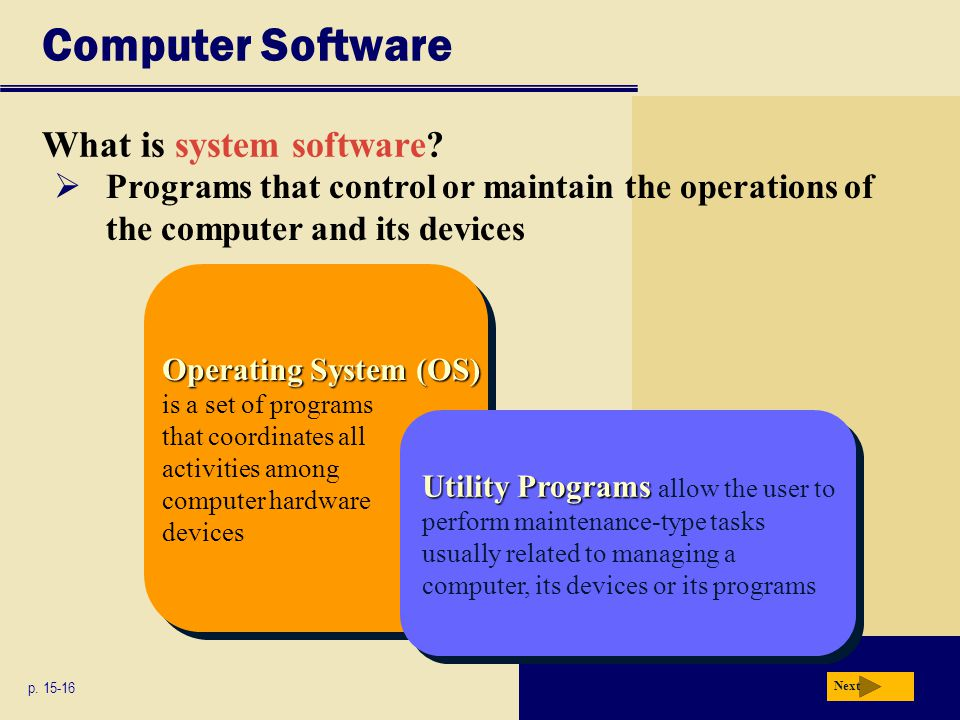 Computer Software What is system software? p. 15-16 Operating System (OS) Operating System (OS) is a set of programs that coordinates all activities a