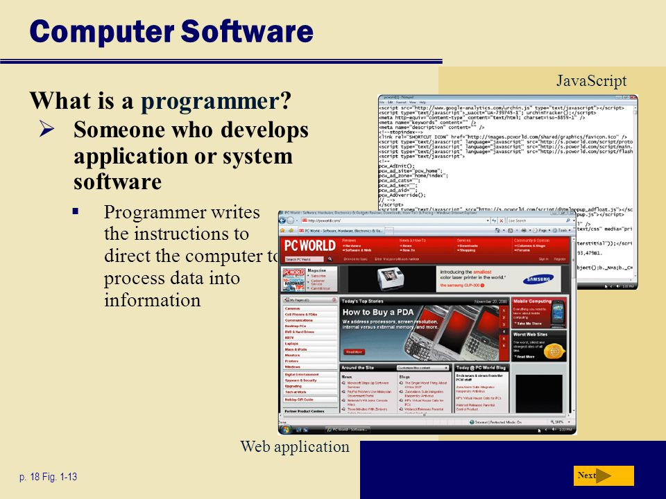 Computer Software What is a programmer? p. 18 Fig. 1-13 Next  Someone who develops application or system software  Programmer writes the instruction