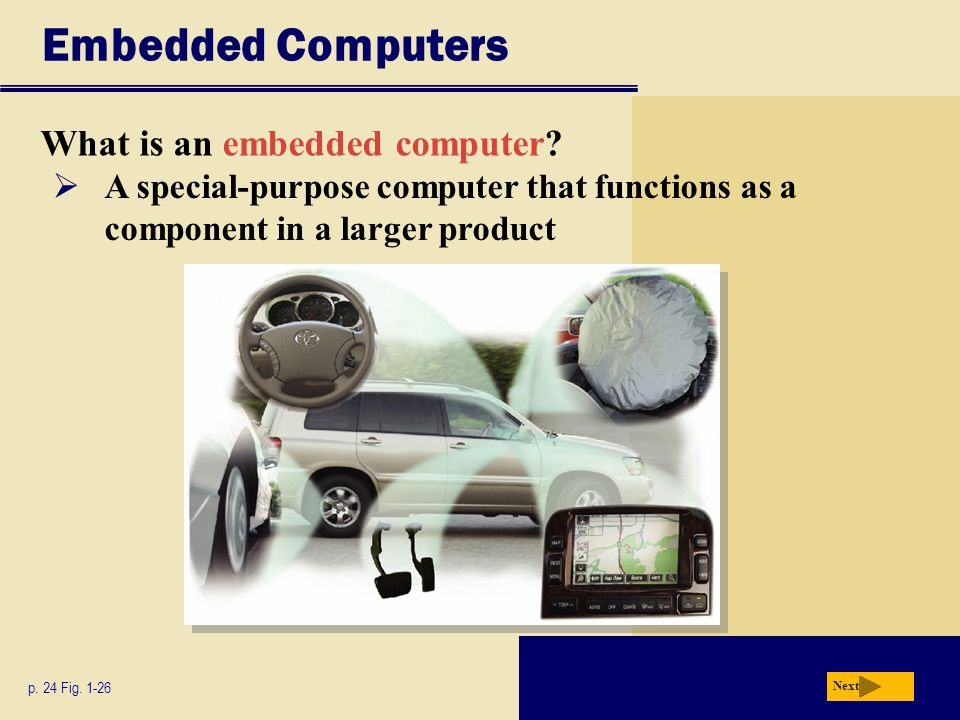 Embedded Computers What is an embedded computer?  A special-purpose computer that functions as a component in a larger product p. 24 Fig. 1-26 Next