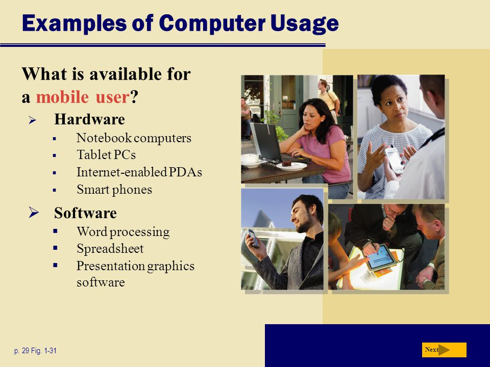  Hardware  Notebook computers  Tablet PCs  Internet-enabled PDAs  Smart phones Examples of Computer Usage What is available for a mobile user? p.