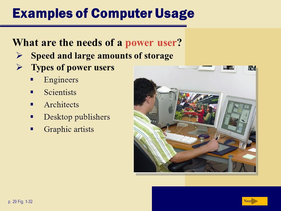 Examples of Computer Usage What are the needs of a power user? p. 29 Fig. 1-32 Next  Speed and large amounts of storage  Types of power users  Engi