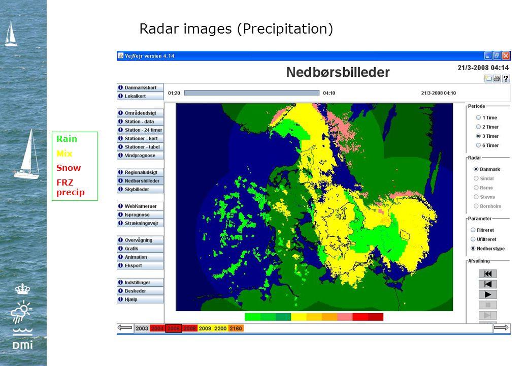 Radar images (Precipitation) Rain Mix Snow FRZ precip