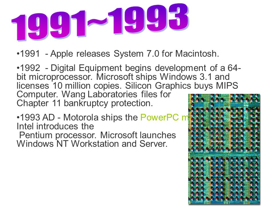1991 - Apple releases System 7.0 for Macintosh.